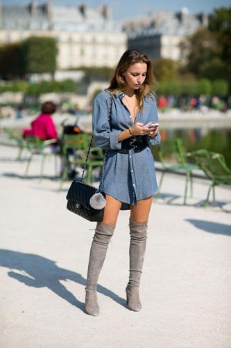 С чем носить ботфорты в стиле 70-х?